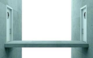 två vita dörrar i futuristiskt koncept foto