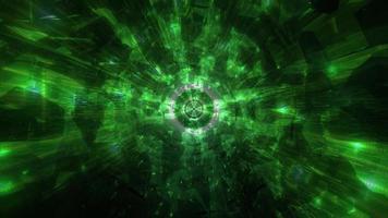 omgivande grön sval mörk tech hål tunnel 3d illustration bakgrund tapet design konstverk foto