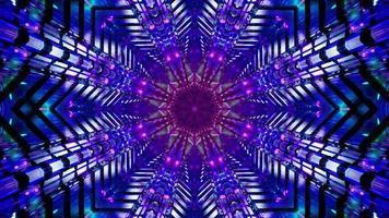 blinkande stjärnformad blå och rosa tunnel 3d illustration bakgrundsdesign konstverk foto