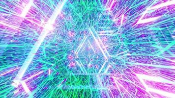 glödande neonlinjer abstrakt tunnel 3d illustration bakgrundsbild konstverk foto