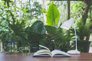 kontorsskrivbord med naturbakgrund foto