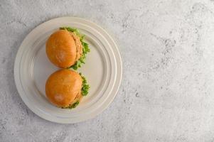 två hamburgare placerade på en vit skål vackert foto