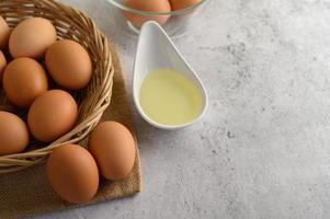 ägg och olja för bakning