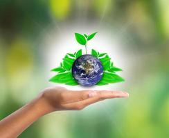 jorden till hands med grönt blad, delar av denna bild från nasa foto