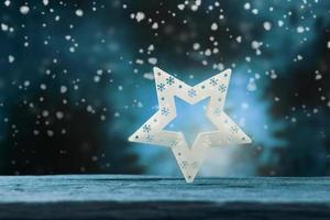stjärna på blått trä