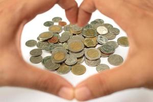 mynt och händer foto