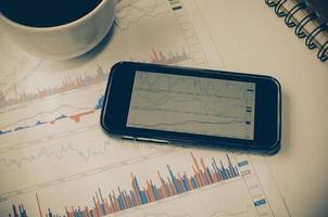 smart telefon med grafer