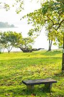 stenbänk på gräsmattan foto