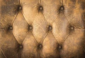 närbild av brun lädersoffa för textur eller bakgrund