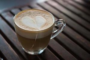 närbild av cappuccino kopp med hjärtformade mjölk mönster foto
