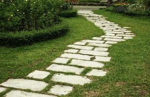 stenväg i trädgården foto