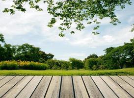 bord i trädgården foto