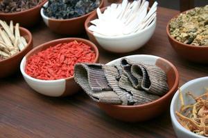 kinesisk örtmedicin i skålar foto