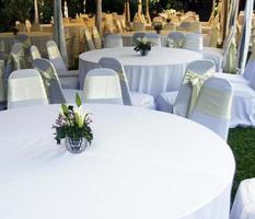 vit duk och stolar