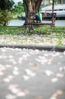paraply på bänken foto