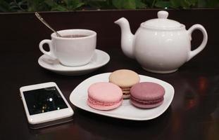 te och makron foto