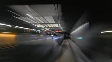 lång exponering av tunnelbanestation foto