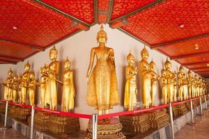 buddha statyer i ett tempel i Thailand