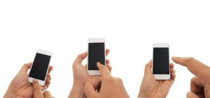 människor som använder telefoner mock-up foto