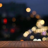 ljus bokeh på gatan och abstrakt bakgrund foto