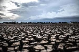 torrt land med torr och sprucken jord foto