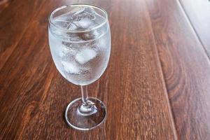 glas med isvatten foto