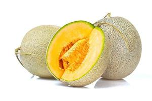 cantalope melon isolerad på vit bakgrund foto