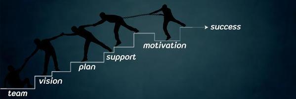 team av människor som klättrar till framgång