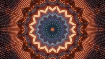 rött, orange och blått ljus och former kalejdoskop 3d illustration för bakgrund eller tapet