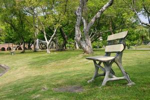 gamla bänkar i en park foto