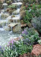 vattenfall i trädgården foto