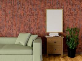 håna affisch i vardagsrummet, 3d-rendering
