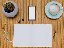ovanifrån mock up smart telefon och anteckningsbok foto