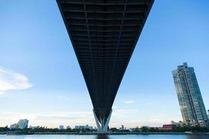 bro över en flod foto