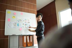 affärsman som ger en presentation på jobbet