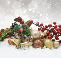 juldekorationer med grannlåt och bär inbäddat i snö foto