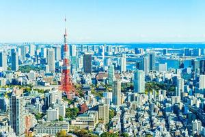 Tokyo stadsbildshorisont i Japan foto