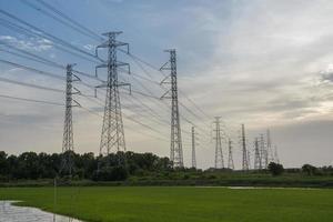 elektriska stolpar med grönt gräs