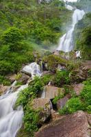 vattenfall i en frodig skog foto