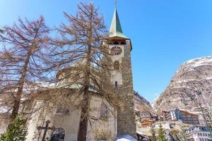 pfarrkirche st. Mauritius i Zermatt, Schweiz foto