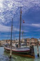 gammalt trabaccolo seglingskepp i Venedig, Italien foto