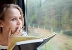 kvinna skriver på ett tåg foto