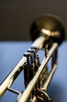 närbild på trumpetventiler foto