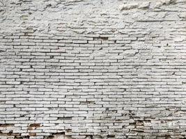 vit tegelvägg med skalande gips foto