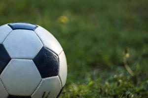 fotboll på gräs foto