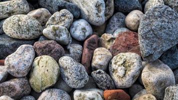 närbild av småsten på stranden foto