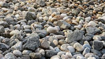 småsten på stranden foto