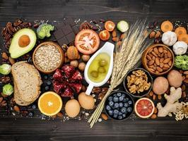grupp av hälsosamma livsmedel foto