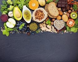 hälsosamma ingredienser med kopia utrymme foto