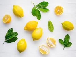 citroner och blad på vitt foto